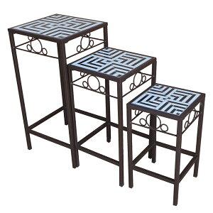 送料無料 ガーデン ネストテーブル ガーデンテーブル 花台 飾り棚 ベランダ テラス デッキ シンプル 北欧 おしゃれ かわいい モノクロ