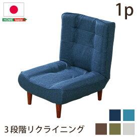 送料無料 ハイバック ソファ 1人掛け ハイバックソファ 布地 ローソファ ポケットコイル 3段階 リクライニング 日本製 lemmik レミックロータイプ 座椅子 1人掛けソファ ファブリック ネイビー ターコイズブルー ブラウン グリーン グレー おしゃれ