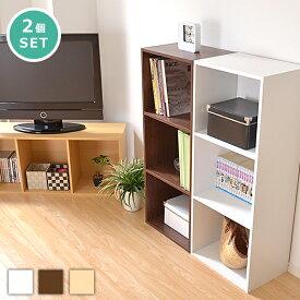 送料無料 カラーボックス 2個セット 3段 A4サイズ kara-bacoA4 スリム おしゃれ 収納ケース 収納棚 棚 ラック 収納ラック a4 本棚 本収納 一人暮らし テレビ台 おすすめ