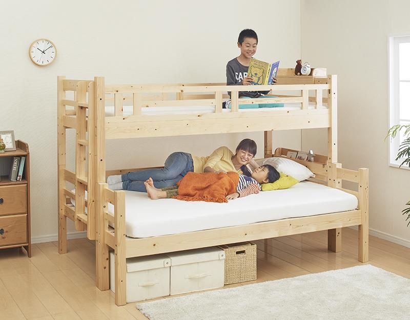送料無料 ベッド 2段ベッド (シングル・ダブル) キニオン 耐荷重150kg 木製ベッド ロータイプベッド コンパクト ベット 二段ベット 2段ベット 床下活用 すのこ床板 エキストラベッド 連結 添い寝 子供用ベッド 子供ベッド 大人用 子供部屋 新入学 すのこ 北欧