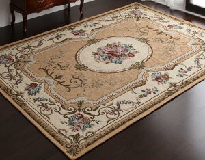 イタリア製ジャガード織りクラシックデザインラグ【グラジオーソローザ】85×150cm