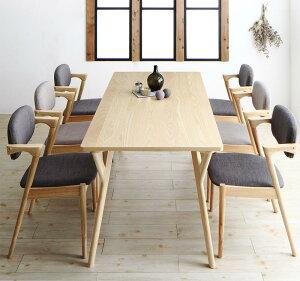 ダイニングテーブルセット 7点セット(テーブル 幅170cm +チェア6脚) 北欧ナチュラルモダンデザイン天然木ダイニングセット Wors ヴォルス 木製 6人掛け 6人用 角型 食卓 ライトグレー チャコー