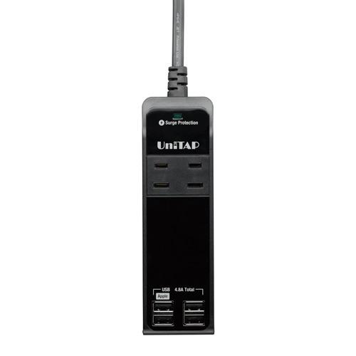 プリンストン 4ポートUSB給電機能付4個口OAタップ Unitap ブラック PPS-UTAP5BK(1コ入)