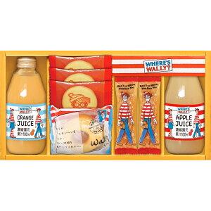 【まとめ買い5セット】ジュース&スイートギフト ウォーリーを探せ プリントクッキー ショコラスティックパイ りんごジュース オレンジジュース バウムクーヘン 食料品 食品 お菓子 洋菓