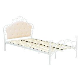 送料無料 ベッド セミダブル ベッドフレームのみ デザインベッド セミダブルベッド スチール パイプベッド 姫系 アイアンベッド ウッドスプリング 高級感 一人暮らし 女の子 子供部屋 おしゃれ ホワイト 白 KH-3090SD-WH
