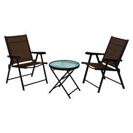 送料無料 ガーデンテーブル ガーデンチェアセット 3点セット テラス 折りたたみ ガラステーブル アウトドア バルコニー 庭 完成品 リゾート感 オープンカフェ ガーデン ティータイム ベランダ コンパクトサイズ 椅子 休憩 LGS-4682S