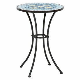 送料無料 ガーデン テーブル 円形 丸型 ガーデンテーブル おしゃれ 雨ざらし 屋外 スチール アイアン タイル テラス カフェ オープンカフェ テーブル ラウンドテーブル アウトドア レジャー ブルー LT-4185