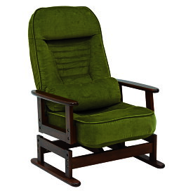 送料無料 高座椅子 低反発 折りたたみ クッション付リクライニング高座椅子 コンパクト グリーン 肘掛け 和室 チェア 一人掛け 1人掛け イス 椅子 フロアチェア フロアソファ チェア 一人用 リラックス LZ-4742GR