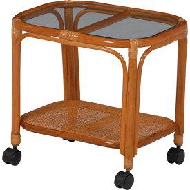 送料無料 ラタンガラステーブル キャスター付き サイドテーブル アジアンテイスト ガラスサイドテーブル 机横 デスクサイド おしゃれ 椅子横 木製 テーブル センターテーブル ローテーブル ソファーサイド ベッドサイドテーブル RT-758