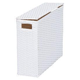 送料無料 トイレラック トイレ 収納 スリム トイレラック トイレットペーパーボックス 収納ボックス ペーパーボックス 小物入れ ケース カゴ かご 籠 ボックス BOX 収納 フタ付ボックス ロールペーパー ペーパーホルダー アジアンテイスト ホワイト 白 RTR-2403WH