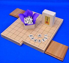 将棋セット 新桂1寸スライド将棋盤セット(将棋駒白椿上彫駒)