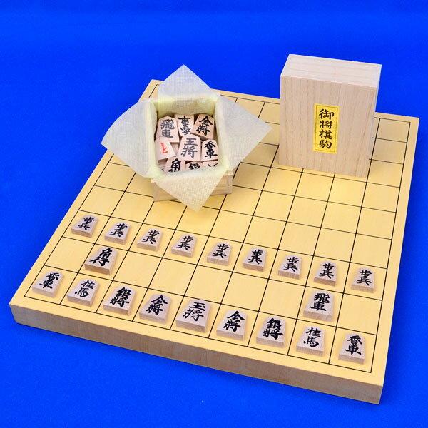 将棋セット ヒバ1寸卓上将棋盤セット(将棋駒アオカ押し駒)