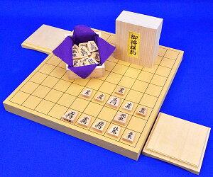 木製将棋セット 新かや1寸卓上将棋盤セット(将棋駒黄楊上彫駒)