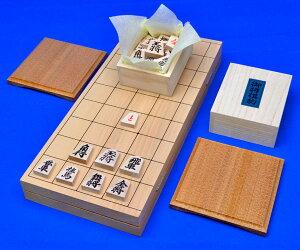 将棋セット 本桂7号折将棋盤セット(木製将棋駒アオカ押し駒・駒台)