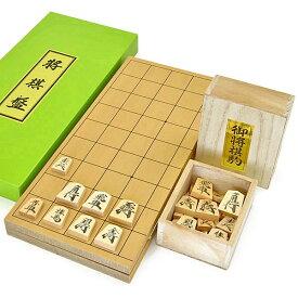 木製将棋セット 新桂5号折将棋盤セット(将棋駒上別製源平駒)
