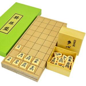 木製将棋セット 新桂5号折将棋盤セット(プラ将棋駒歩心)