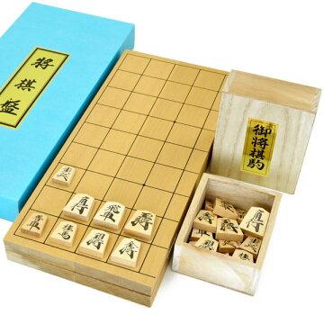 木製将棋セット新桂6号折将棋盤セット(将棋駒上別製源平駒)