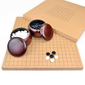 囲碁セット 9路19路両用新桂1寸卓上碁盤セット(ガラス碁石梅・プラ銘木大)