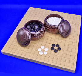 囲碁セット 新桂1寸卓上碁盤セット(蛤碁石22号・栗碁笥大)