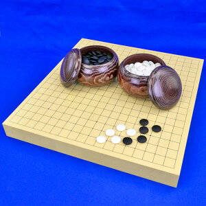 囲碁セット ヒバ1寸5分卓上碁盤セット【特売品】(ガラス碁石梅・栗碁笥大)