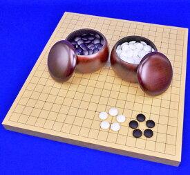 囲碁セット ヒバ1寸卓上碁盤セット(ガラス碁石梅・プラ銘木大)