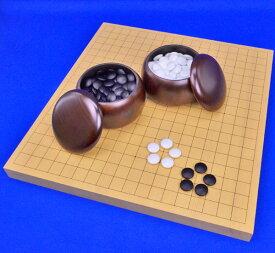 囲碁セット 新かや1寸卓上碁盤セット(ガラス碁石梅・プラ銘木大)