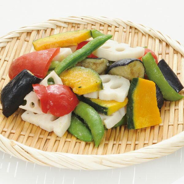 ニッスイ)5色の彩りごろっと野菜ミックス 380g(冷凍野菜 パック野菜 時短 便利 彩り かぼちゃ れんこん スナップえんどう 揚げなす 赤パプリカ)