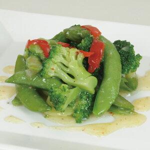 太堀)緑野菜のペペロンチーノ500g(スナップエンドウ ブロッコリー アスパラガス 赤ピーマン オードブル 前菜 2020年新商品:洋風軽食)