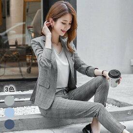 送料無料 パンツスーツ レディース グレー チェック柄 新作 スーツ 通勤 オフィス ビジネス リクルートスーツ ウエストゴム 大きいサイズ セットアップ