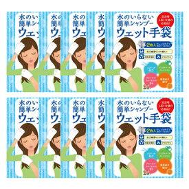 水のいらない泡なしシャンプー ウェット手袋(2枚入) 10個セット/フルーティーフローラル/介護・入院用シャンプー/四国紙販売株式会社