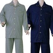 【男性用長袖パジャマ】紳士楽らくスームス上下セット通年用マジック式M/L/LL