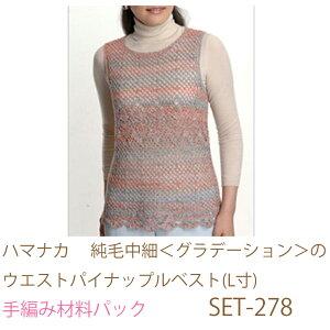 ハマナカ  純毛中細<グラデーション>のウエストパイナップルベスト(L寸)SET-278完成品ではありません。手編み材料パックです。(糸と編み図だけが入っています。ボタン、ファスナー等