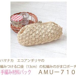 ハマナカ エコアンダリヤ の編みつける口金(13cm)の松編みのがま口ポーチAMUー710ブライトカラー完成品ではありません。手編み材料パックです。(糸と編み図だけが入っています。ボタ