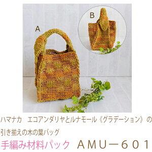 ハマナカ エコアンダリヤとルナモール《グラデーション》の引き揃えの木の葉バッグAMUー601完成品ではありません。手編み材料パックです。(糸と編み図だけが入っています。ボタン、フ
