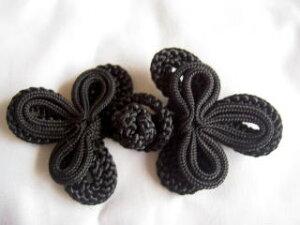チャイナボタン みつば 黒、紺、茶色