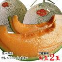 送料無料 オレンジハートメロン【大玉3L-5L】2玉セット【進物用】熊本産〔希少な新品種〕[常温]【収穫があり次第出荷】ギフト