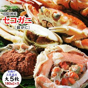 【クーポンで10%引き】【到着日指定不可】【予約販売】[生](大サイズ)セコガニ(親がに・勢子がに)【訳あり】5枚セット(180g前後が5枚入)【送料無料】カニ かに 蟹 せこがに せいこ蟹