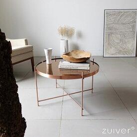 Zuiver コーヒーテーブル 丸 ガラステーブル ローテーブル ガラス カッパー 北欧 おしゃれ 円形 センターテーブル リビングテーブル 円 サイドテーブル 一人暮らし テーブル アイアン コッパー 折りたたみ Cupid coffee table copper