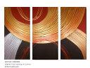 絵画 赤 ゴールド おしゃれ 壁掛け 絵 インテリア 抽象画 玄関 リビング 新築 和風 和モダン モダンアート 3枚組 旅館…
