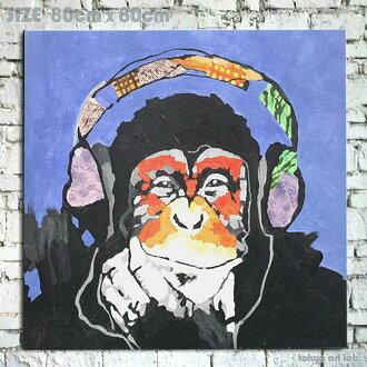 """그림 회화 원숭이 원숭이 Enjoy! art! """"침팬지"""" 장식 벽 파랑 인디 blue indigoblue 회화 사 년 申年"""