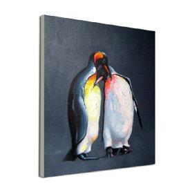 絵画 額無し 油絵Enjoy! art『ペンギン(ぺんぎん)』【アートパネル】壁 壁飾りモノトーン 黒 白黒