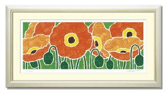 """介紹祝賀和禮品和禮物: SOUJIROU 藝術牆畫出售橙色罌粟列印""""風水""""入口和客廳牆上的慶祝活動,如為送禮讚美: 吉祥東京藝術繪畫藝術壁掛風水前面門繪畫"""