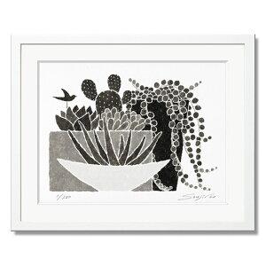絵画 モノクロ 植物画 サンセベリアと多肉植物とグリーンネックレス 白フレーム 八切 インテリア おしゃれ 壁掛け 版画 水彩 プレゼント お祝い 新築 父の日 父の日