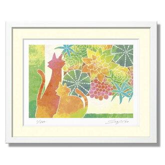 """貓的小雕像和組種植多肉植物] SOUJIROU 藝術作品畫冊專輯列印""""軟柔和色調是流行 ' [樂趣禮物 _ 畫列印 [SC] [一個] [D]"""