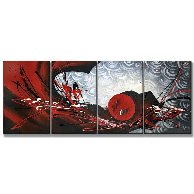 【SALE対象品】 絵画 壁掛け インテリア 【紅赤の抽象】4枚組W1000mm 斬新な筆使いで描き出すモダンアートハーフ(小さい)size リビング 玄関の壁掛け インテリア 抽象 和風 和モダン一般住宅向け リフォーム リノベーション