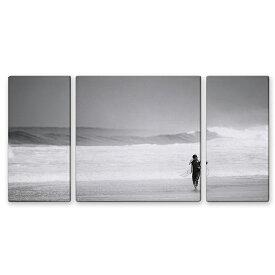 絵画 インテリア USART ファブリックパネル SURFER W60cm H30cm D2cm SIZE/M 3枚セット 絵 海 モノクロ 新築 壁絵 飾り 装飾 壁 軽量 軽い