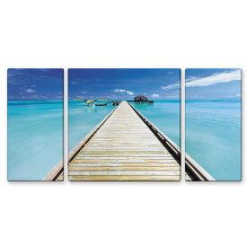 絵画 インテリア USART ファブリックパネル Blue Blue W100cm H50cm D2cm SIZE/L 3枚セット 横長 Print on Canvas 海 絵 新築 壁絵 飾り 装飾 壁 軽量 軽いギフト対応可