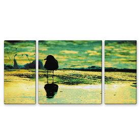 絵画 インテリア USART ファブリックパネル SEAGULL W60cm H30cm D2cm SIZE/M 3枚セット 絵 海鳥 新築 壁絵 飾り 装飾 壁 軽量 軽い
