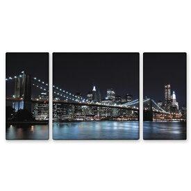 絵画 インテリア USART ファブリックパネル ブルックリンブリッジ W100cm H50cm D2cm SIZE/L 3枚セット 3枚セット 横長 NYC 絵 新築 壁絵 飾り 装飾 壁 軽量 軽い