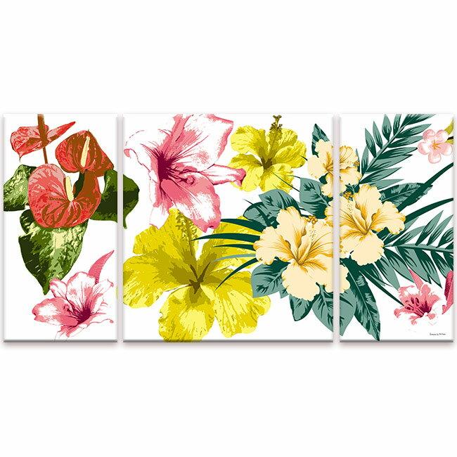 TROPICAL FLOWERS M-sizeCANVAS ART キャンバスアートPhotography Urban Style アーバンスタイルK-Art.Japan インテリアアート3分割のデザインでスタイリッシュに壁を飾ることができるアート製品新築や引っ越し等のお祝い品に:ギフト対応可